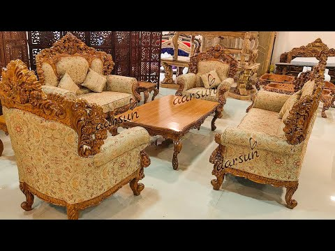 #109 Fascinating Double Side Carved Sofa Set | Premium Finish | Luxurious Seating @Aarsun Woods