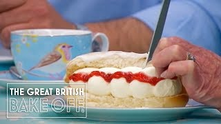 Filling the Iced Buns with Cream - The Great British Bake Off