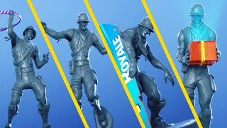 Fortnite Plastic Patroller Gray Skin Showcase with All Dances & Emotes