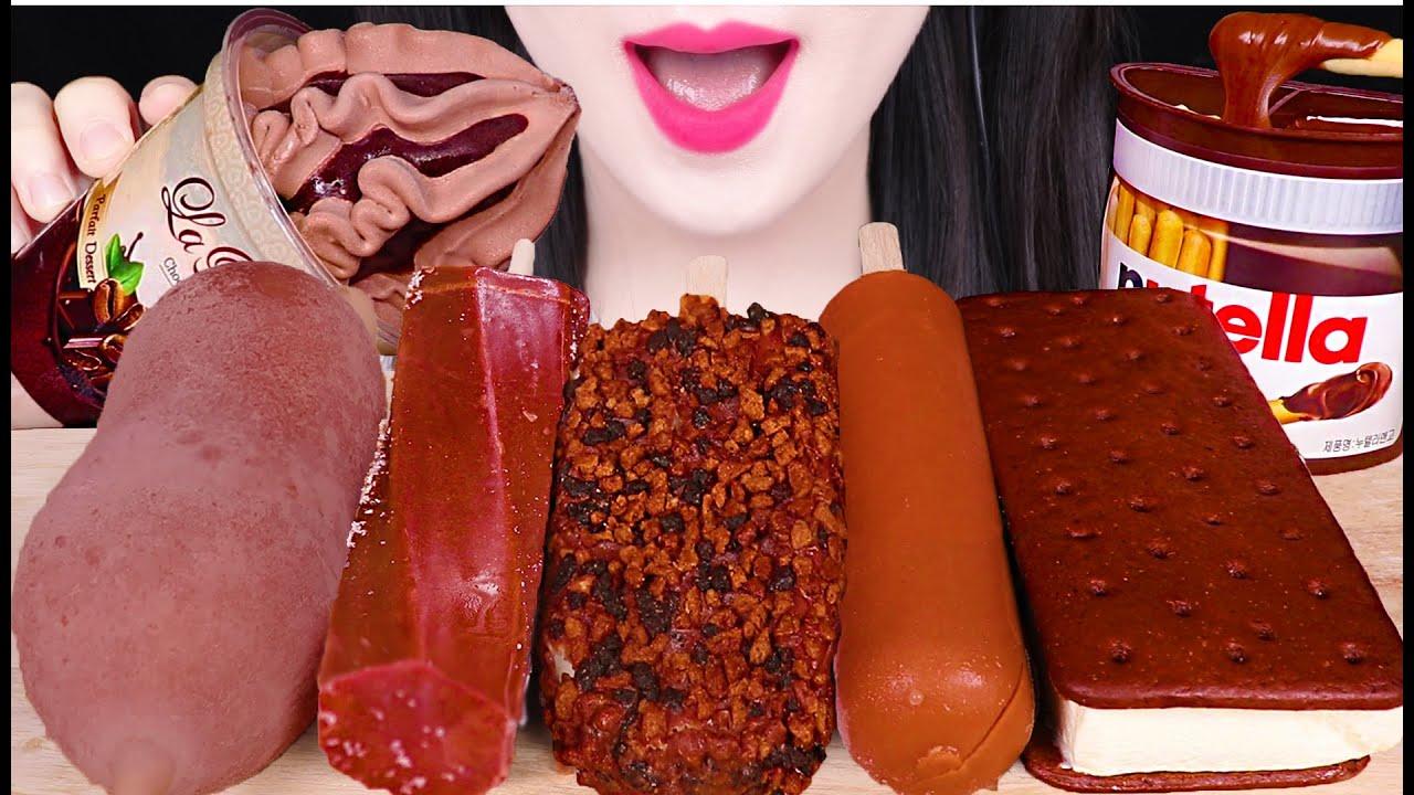 ASMR CHOCOLATE ICE CREAM *PARFAIT, TURTLE EGG, NUTELLA 초콜릿 아이스크림 *거북알, 초코 파르페, 누텔라 먹방 EATING SOUNDS