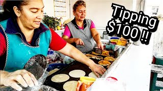 FAVORITE Mexican Street Food Stand & Tipping $100 Dollars In Mexico At The End Of The Video