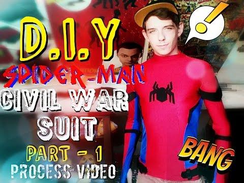 How to make A Spider-Man Civil War Suit - Shirt Base | Process Video | Part 1