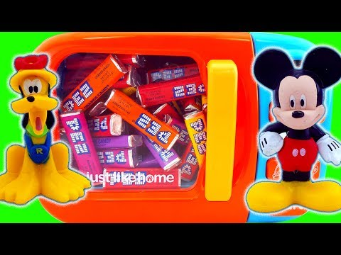 Thumbnail: Microwave Just Like Home Pez Candy Surprise Toys Mickey And Minnie Mouse Finger Family Hand Paint