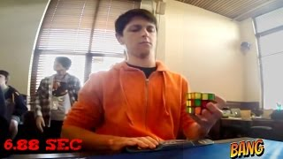 SLOW MOTION Rubik's cube one handed world record 6.88 sec  Feliks Zemdegs