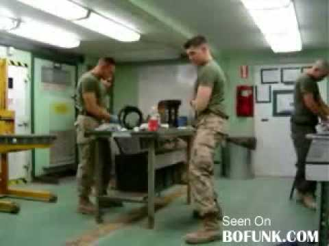soldiers dancing to cha cha slide