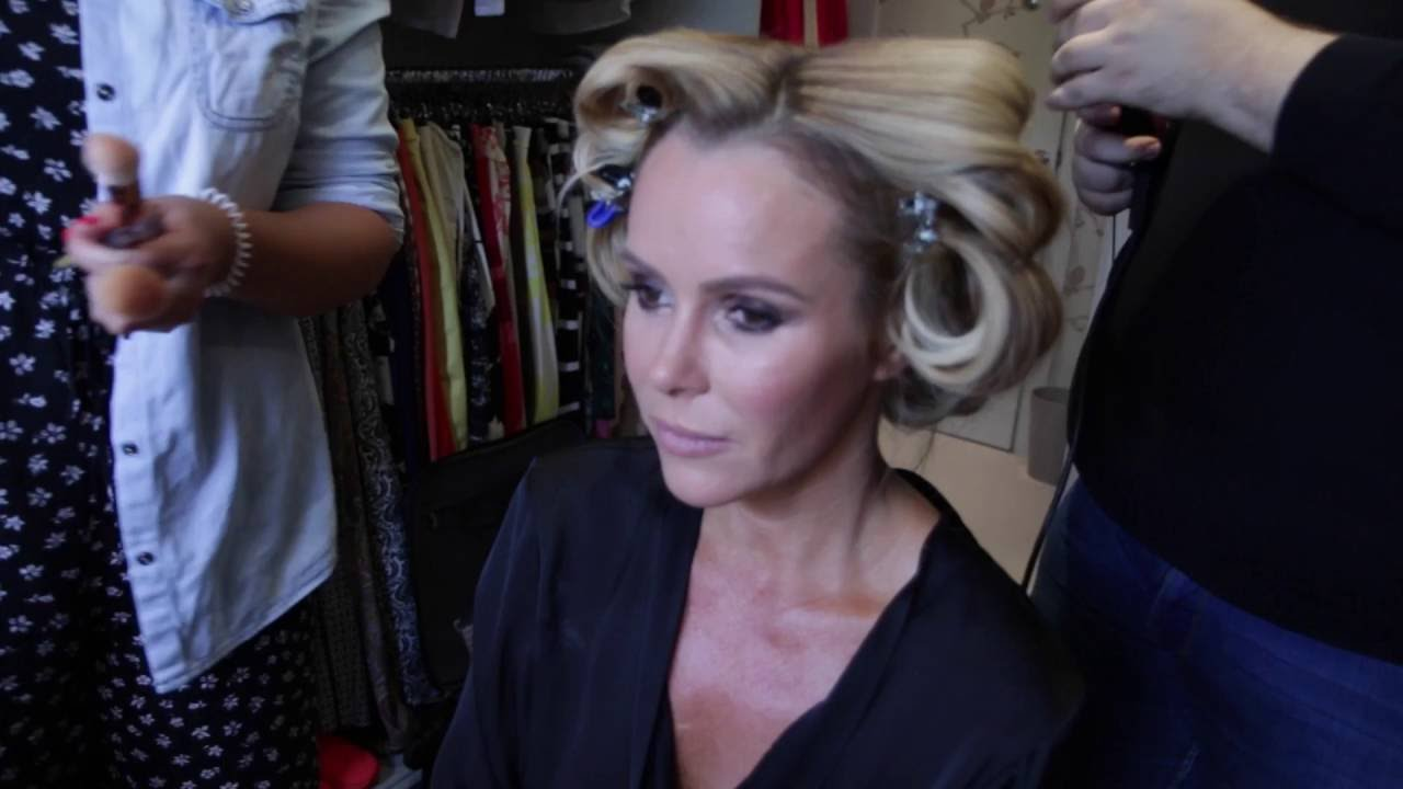 Amanda Holden getting ready for Glamour Awards