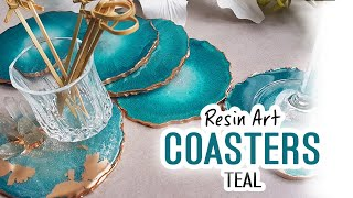 Resin Art  - How to make teal coasters using a mold