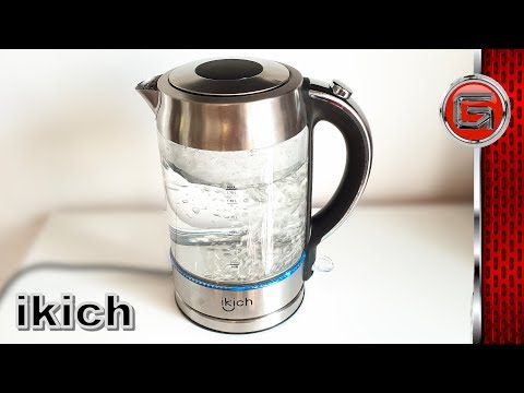 Ikich 1.7L  Illuminated Glass Electric Kettle Unboxing - Cordless Hot Water Boiler Review
