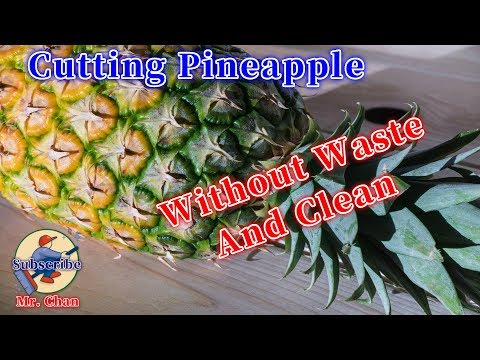 How to cut pineapple!how to cut pineapple without waste!(fast and clean)