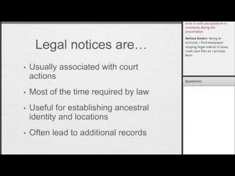 Legal Notices for Genealogists - James Tanner
