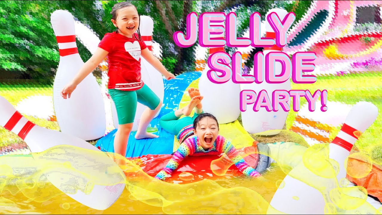 Bug's Jelly Slide Pool! Surprise Birthday Party for Callie