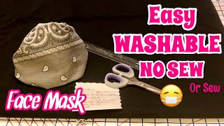 DIY NO SEW WASHABLE FACE MASK 😷 BANDANA STYLE BEGINNERS DIY FACE MASK WITH FILTER