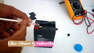 How to Repair 6 Volts, 4.5Ah Lead Acid Battery At Home   How to Change Distilled Water for Battery