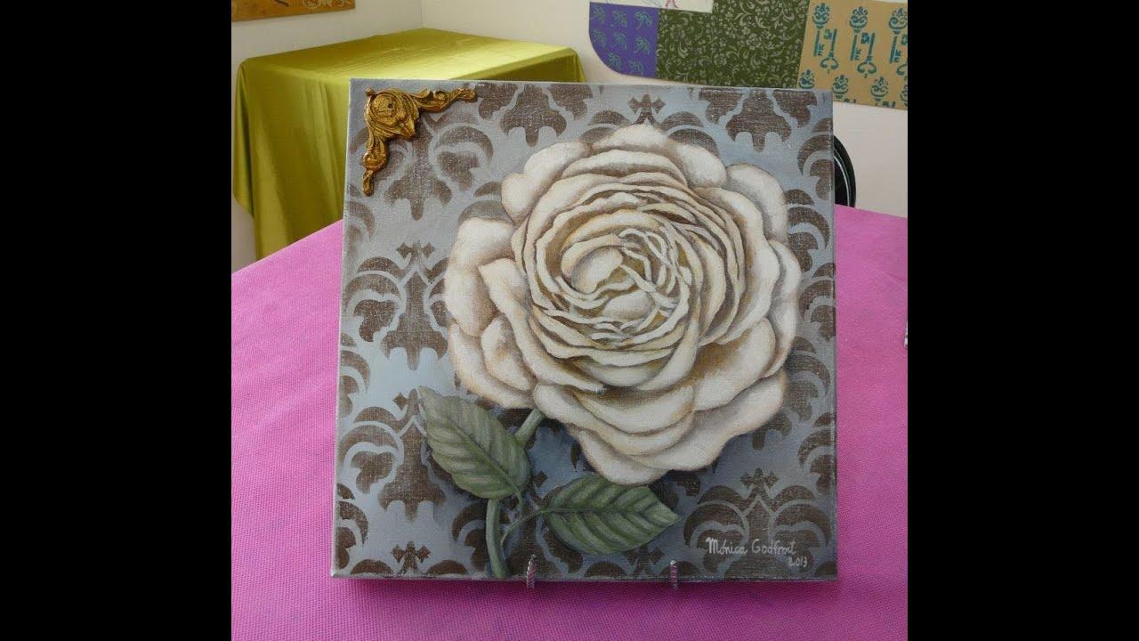 Aprende a pintar el cuadro de una rosa en acr lico youtube - Aprender a pintar ...