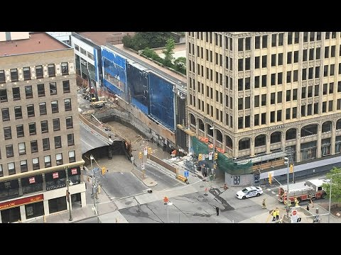 RAW VIDEO: Giant sinkhole opens in downtown Ottawa