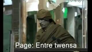 شاهد القذافي المجنون وهو يصرخ كالمجانين مضحك جدا