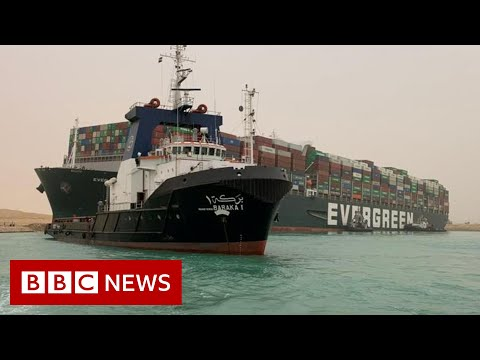 Suez Canal blocked after huge container ship wedged across it  - BBC News