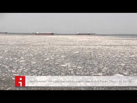 Eastern Pacific Shipping m/v Lake Kivu in frozen waters near Tianjin