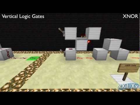 Minecraft - Vertical, 1-Wide Logic Gates (All)