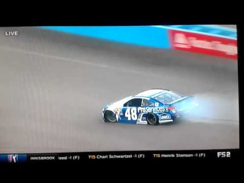Jimmie Johnson crashes at Phoenix, ending his chase for record eighth NASCAR title