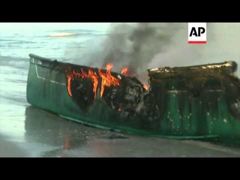 Scene of destroyed Palestinian boats after Israeli navy opens fire off Gaza Coast