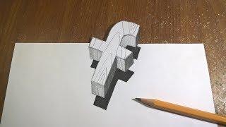 [Hướng dẫn] Vẽ Chữ F 3D lơ lửng trên giấy  như thật   How to draw the letter