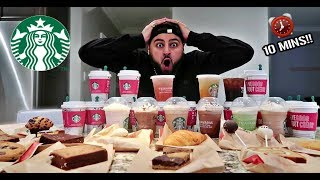 ENTIRE STARBUCKS MENU IN 10 MINUTES CHALLENGE!!