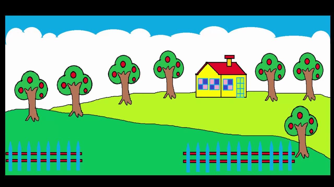 Vẽ tranh khu vườn | Vẽ khu vườn | How to draw garden by ms paint | Luyện tập tin học 03