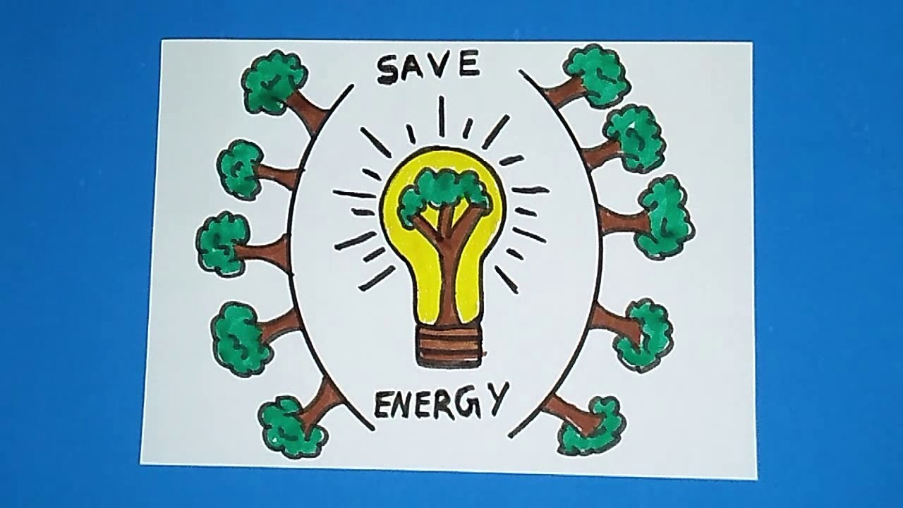How To Draw Save Electricity Drawing For Kids Save Tree Drawing Save Energy Youtube