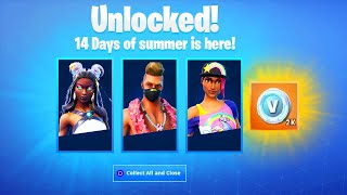 ALL 14 DAYS OF SUMMER CHALLENGES & REWARDS! FORTNITE 14 DAYS OF SUMMER REWARDS! (NEW SUMMER REWARDS)