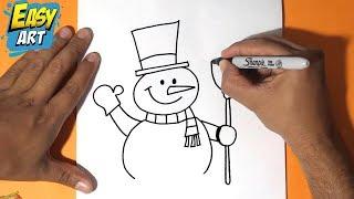 Como dibujar un muñeco de nieve 2 - How to draw a snowman,christmas