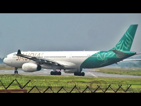 Saudi Arabian Airlines Airbus A330 takeoff from Trivandrum Int'l Airport [HD]