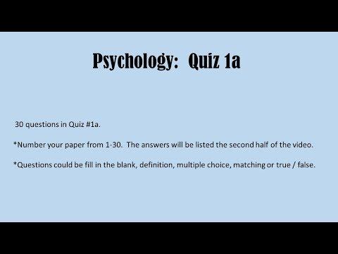 Psychology Quiz 1a - YouTube