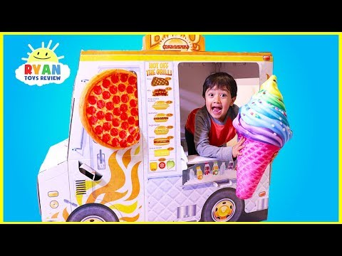 Ryan Pretend Play with Food Truck cooking Playhouse!