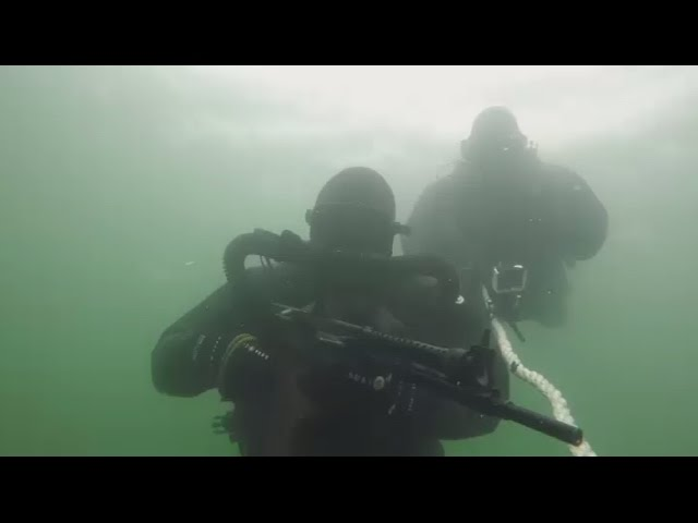 Russian Marine Special Forces practice underwater gunfire