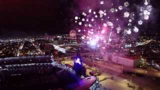 rockies at coors field has fireworks filmed by drone