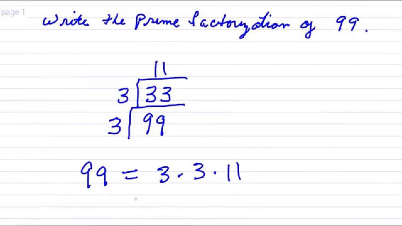 Worksheet Prime Factors Of 189 worksheet prime factors of 189 mikyu free write the factorization 99 youtube youtube