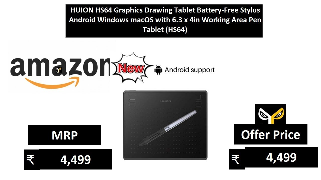HUION HS64 Graphics Drawing Tablet Battery-Free Stylus Android Windows macOS