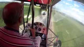 Самодельный самолет из поликарбоната взлет и посадка с шоссе