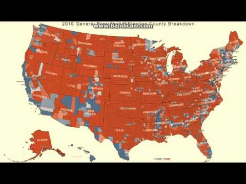 Complete America voting map county & state. Trump red / Clinton blue