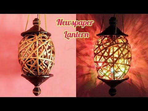 How to make Newspaper Lantern #2 | Diwali home decor