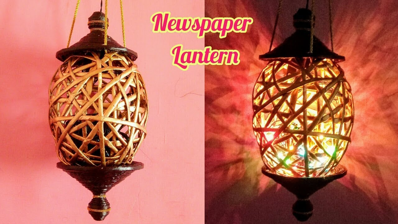 How to make Newspaper Lantern #2   Diwali home decor
