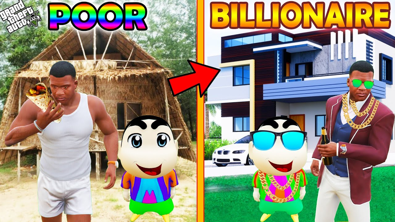 GTA 5 : Shinchan Become Poor And Pinchan Become Billionaire in GTA 5 ! (GTA 5 mods)