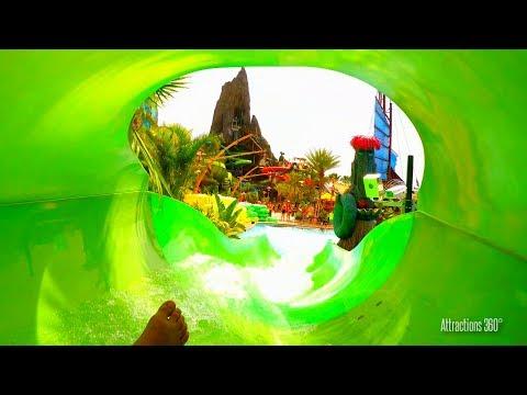 [4K] Volcano Bay Tube Water Slide POV - Taniwha Tubes - 2 Slides POV