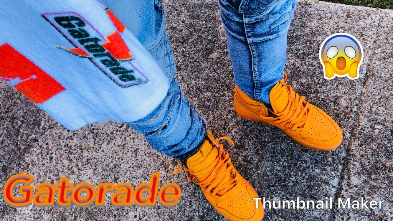 "8600a101e2ae Air Jordan "" GATORADE ORANGE PEEL "" retro 1 review   ON FEET + dress  tutorial"