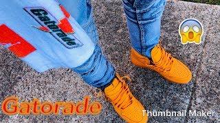 jordan 1 gatorade orange on feet