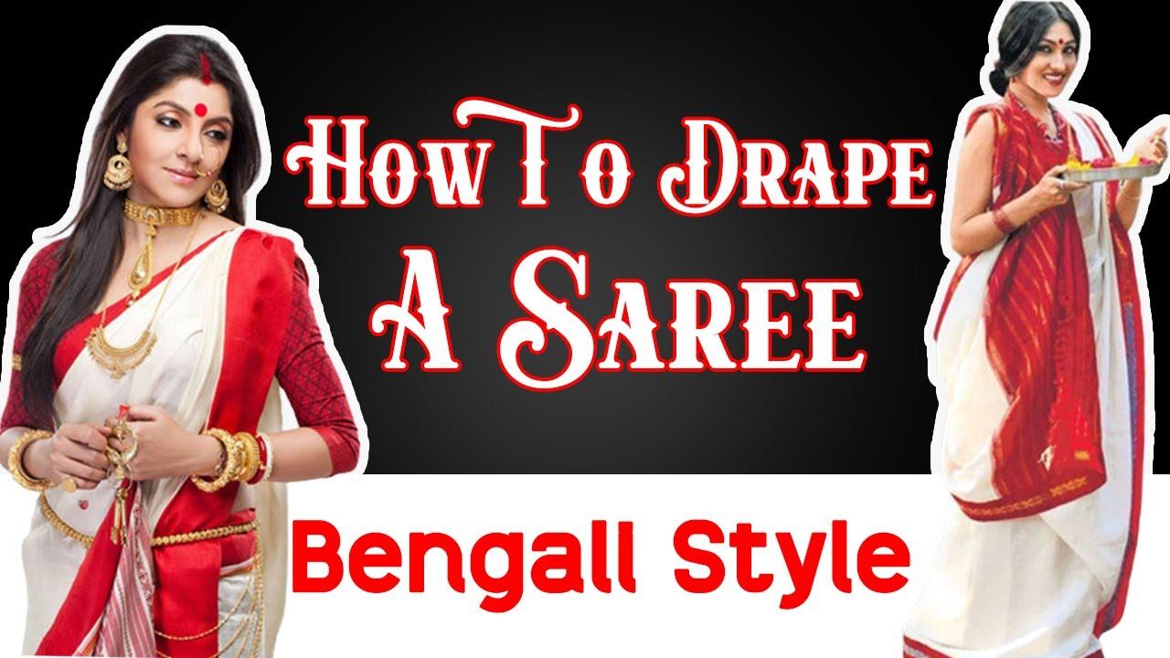 291c150ba196c3 How To Drape A Saree   Bengali Style   Quick Saree Draping Tutorial -  YouTube