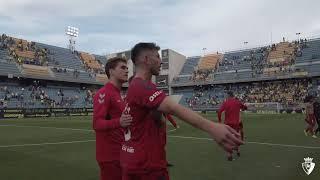Celebración de los jugadores tras el punto conseguido ante el Cádiz C. F.