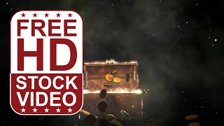 FREE HD video backgrounds – treasure chest opening and gold coins jumping out on black background wi
