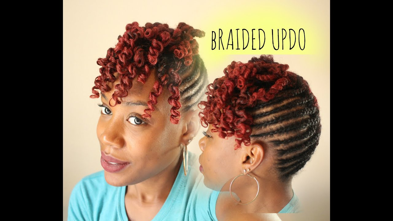Braided Updo Styles For Natural Hair: BRAIDED UPDO WITH CURLY BANG - YouTube